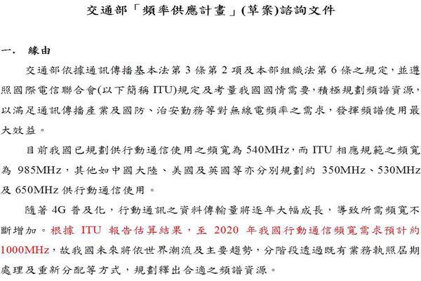 台灣頻譜的需要